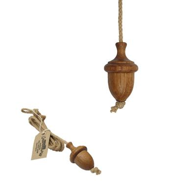 Traditional Oiled Oak Acorn Light Cord Pull with rope