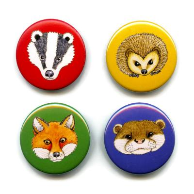 Pack of Four Animal Button Badges