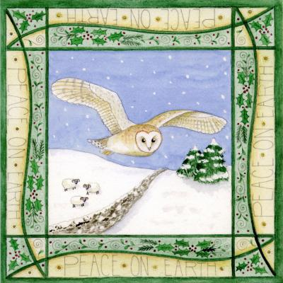 Barn Owl Blank Christmas Greetings Card