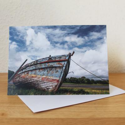 Old Boat at Kirkcudbright Blank Photographic Greetings Card