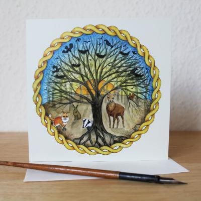 Celtic Forest Blank Greetings Card