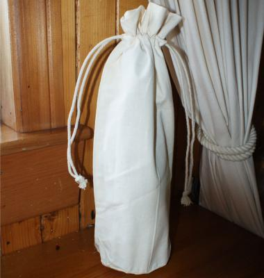 Natural Cotton Drawstring Bottle Bag