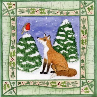 Fox and Robin Blank Christmas Greetings Card