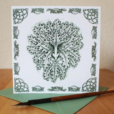 Green Man Blank Greetings Card