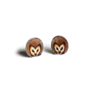 Hedgehog Face Stud Earrings