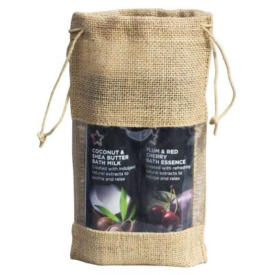 Jute Drawstring Gift Bag with Window