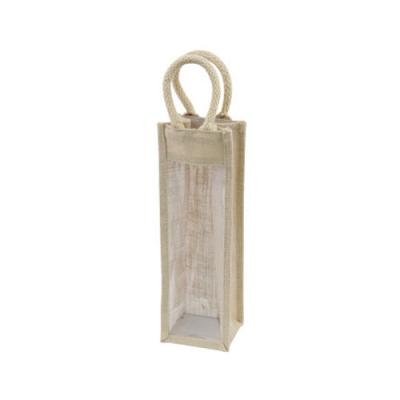 Jute Single Bottle Gift Bag with window