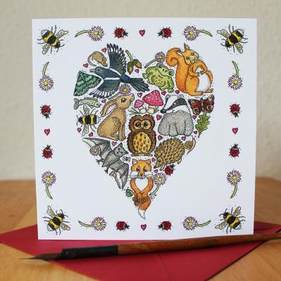 Love Nature Heart Blank Greetings Card