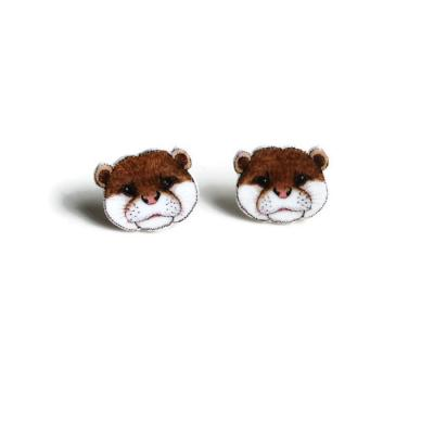 Otter Face Stud Earrings