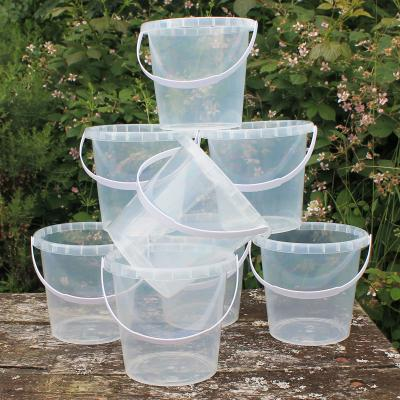 Pack of eight Clear Plastic Buckets