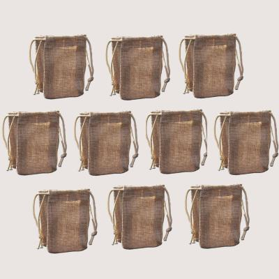 Pack of Ten Small Jute Economy Drawstring Bags