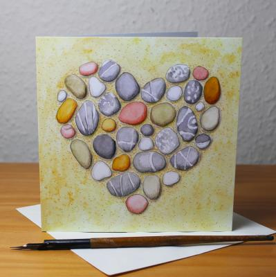 Pebble Heart Blank Greetings Card