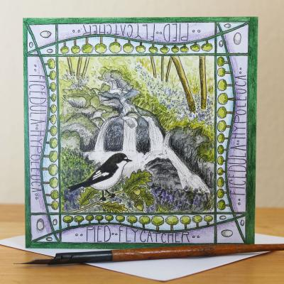 Pied Flycatcher Wood of Cree Blank Greetings Card