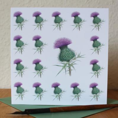 Scottish Thistle Blank Greetings Card