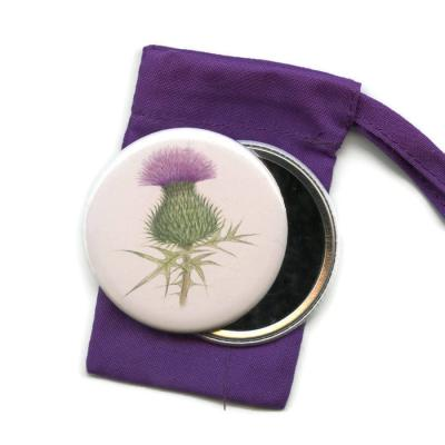 Scottish Thistle Pocket Handbag Mirror
