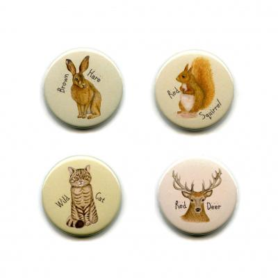 Four Scottish Wild Animal Fridge Magnets
