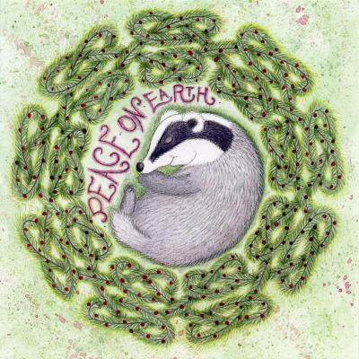 Sleeping Badger Blank Christmas Greetings Card