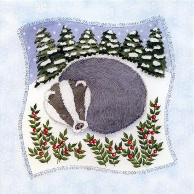 Snowy Badger Blank Christmas Greetings Card