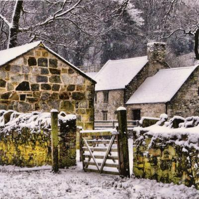 Snowy Farmhouse Greetings Card