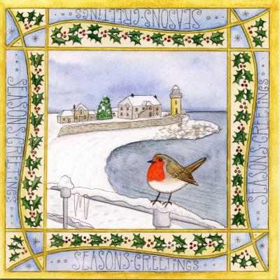 Snowy Robin Portpatrick Blank Christmas Greetings Card