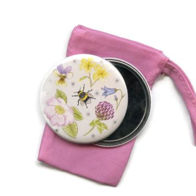 Wildflowers and Bumblebee Pocket Handbag Mirror