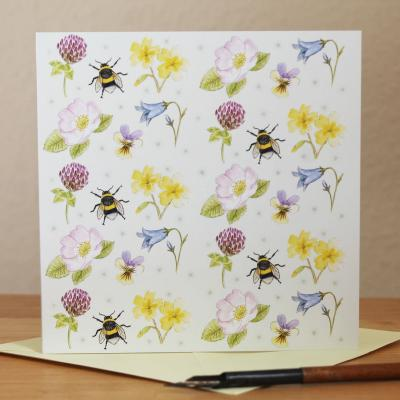 Wild Flowers and Bumblebee Blank Greetings Card
