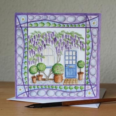 Wisteria Cottage Blank Greetings Card