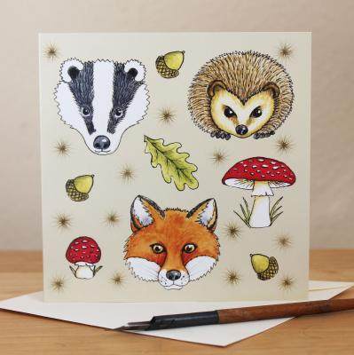 Woodland Animals Blank Greetings Card