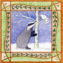 Badger and Dove Blank Christmas Greetings Card
